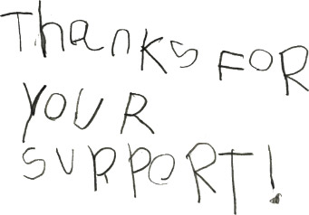 A hand written thank you note